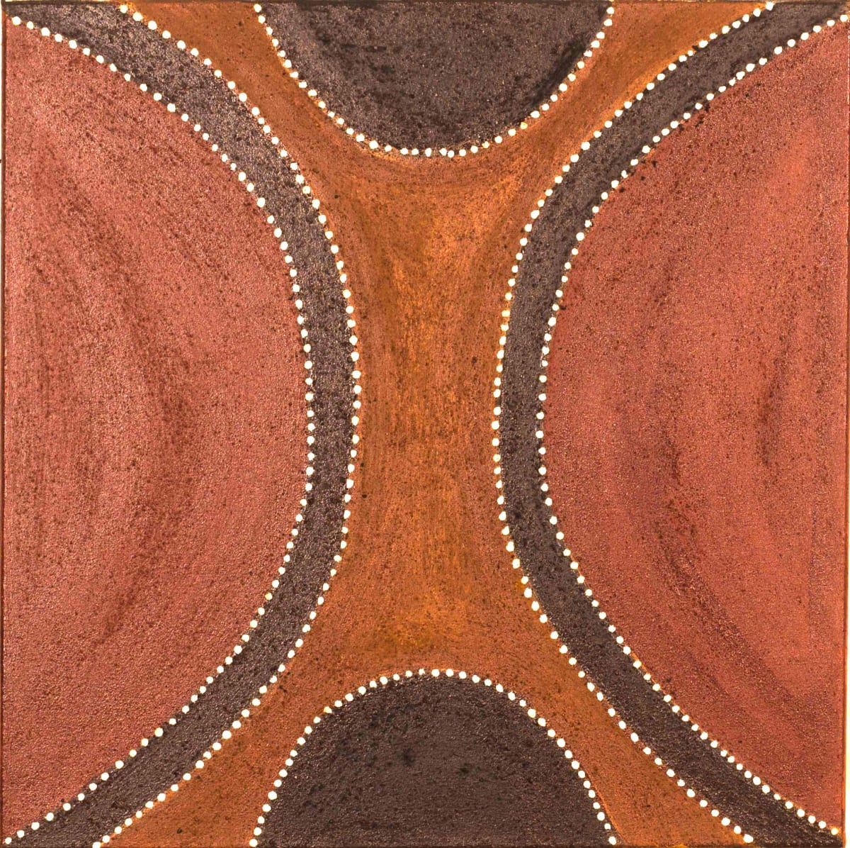 Charlene Carrington Texas Spring natural ochres on canvas 60 x 60 cm