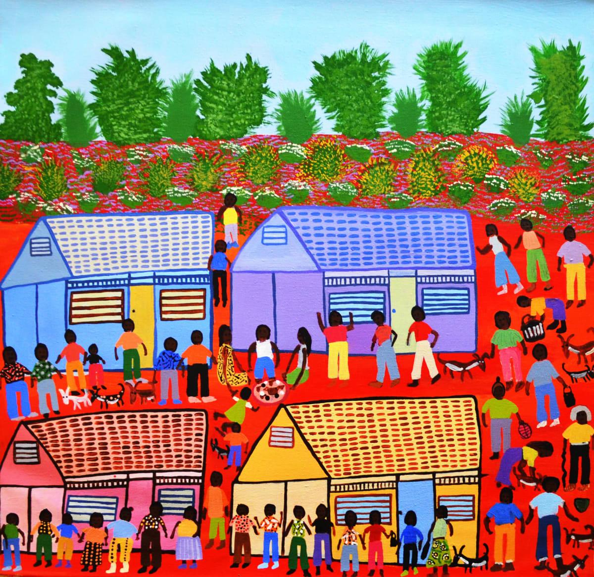 Doris Thomas Titjikala - Pension Day acrylic on linen 66 x 66 cm