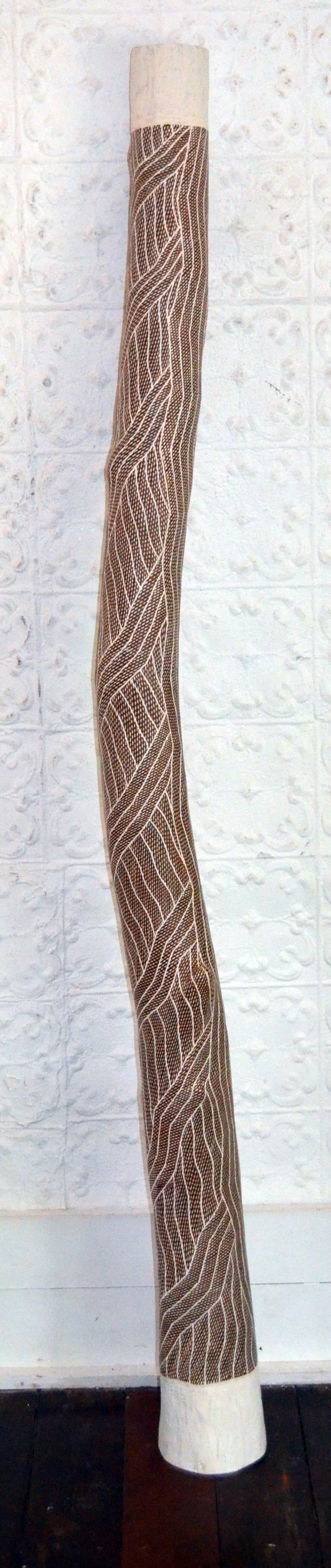 Manini Gumana Garraparra Larrakitj Ochre on wood 200 cm