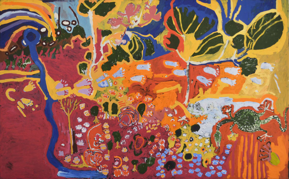 Barney Wangin Perentie Man Creation Story acrylic on linen 198 x 122 cm