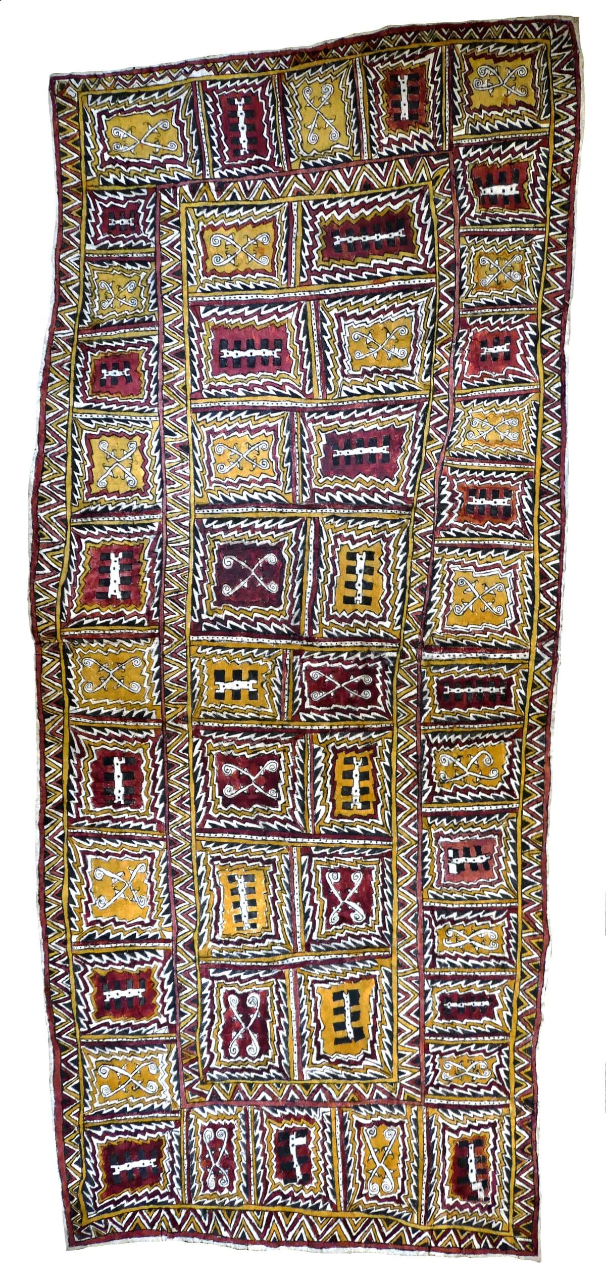 Diona Jonevari (Suwarari) Dahoru'e natural pigments on nioge (barkcloth) 146 x 63 cm