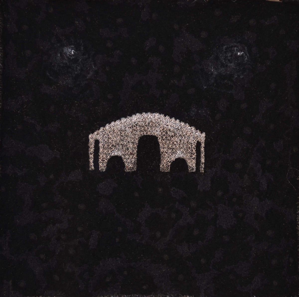 Stephen Eastaugh Bridge and Black Holes (Norway) acrylic, thread, linen 140 x 130 cm