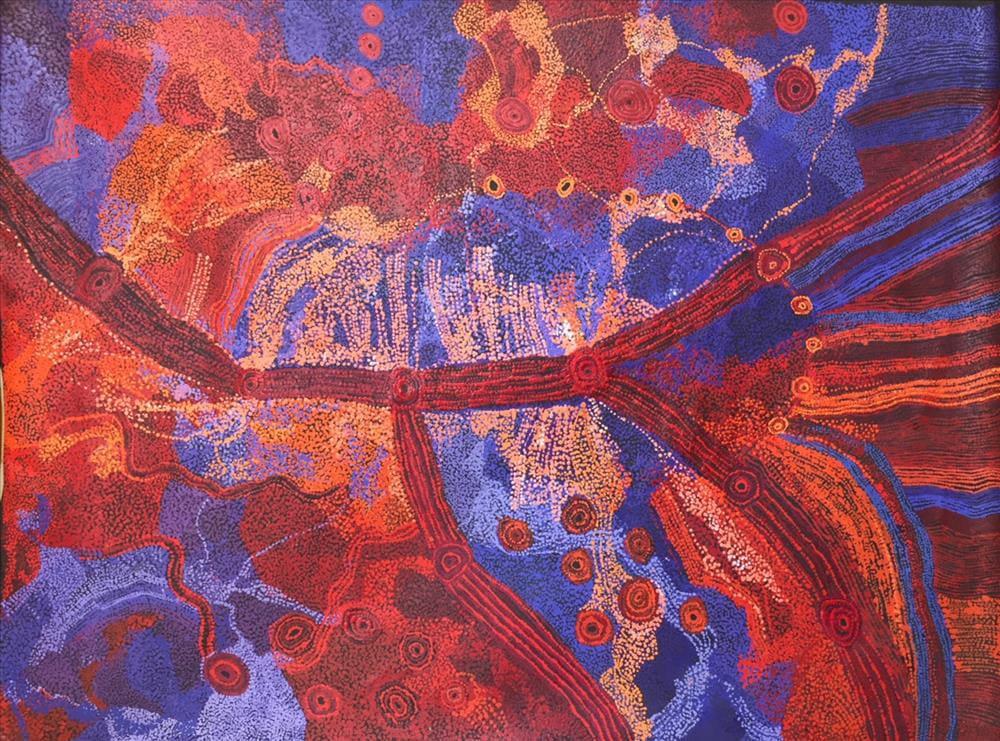 Sylvia Kanytjupai Ken Seven Sisters acrylic on linen 152 x 198 cm