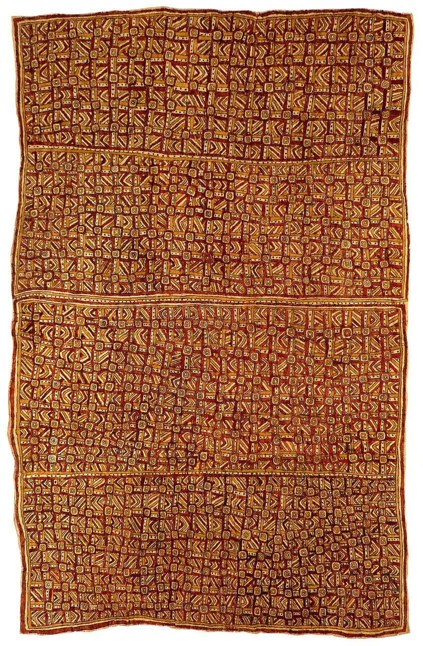 Hilda Mekio Nuni'e, jö'o sor'e, visuanö'e, sabu ahe ohu'o dahoru'e natural pigments on nioge (barkcloth) 109 x 68.5 cm