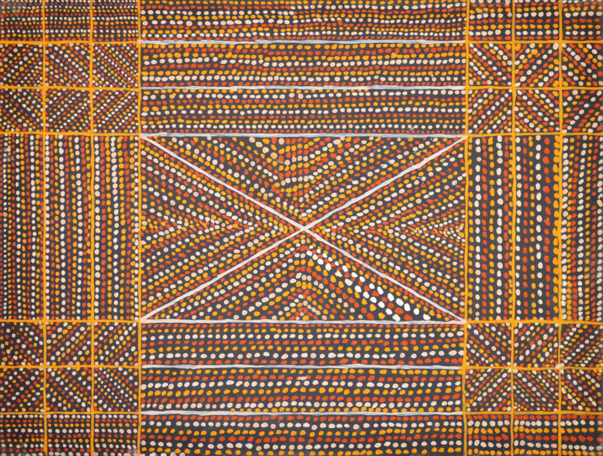 Linus Warlapinni Jilamara ochre on canvas 90 x 70 cm