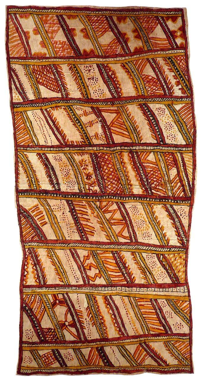 Fate Savari Mweje (Sabu deje, nenyai, ije biweje, dubidubi'e, mi'ija'ahe, mokojo bineb'e, mahuva'oje, uje, ohu'o buboriano'e) natural pigments on nioge (barkcloth) 149 x 74 cm