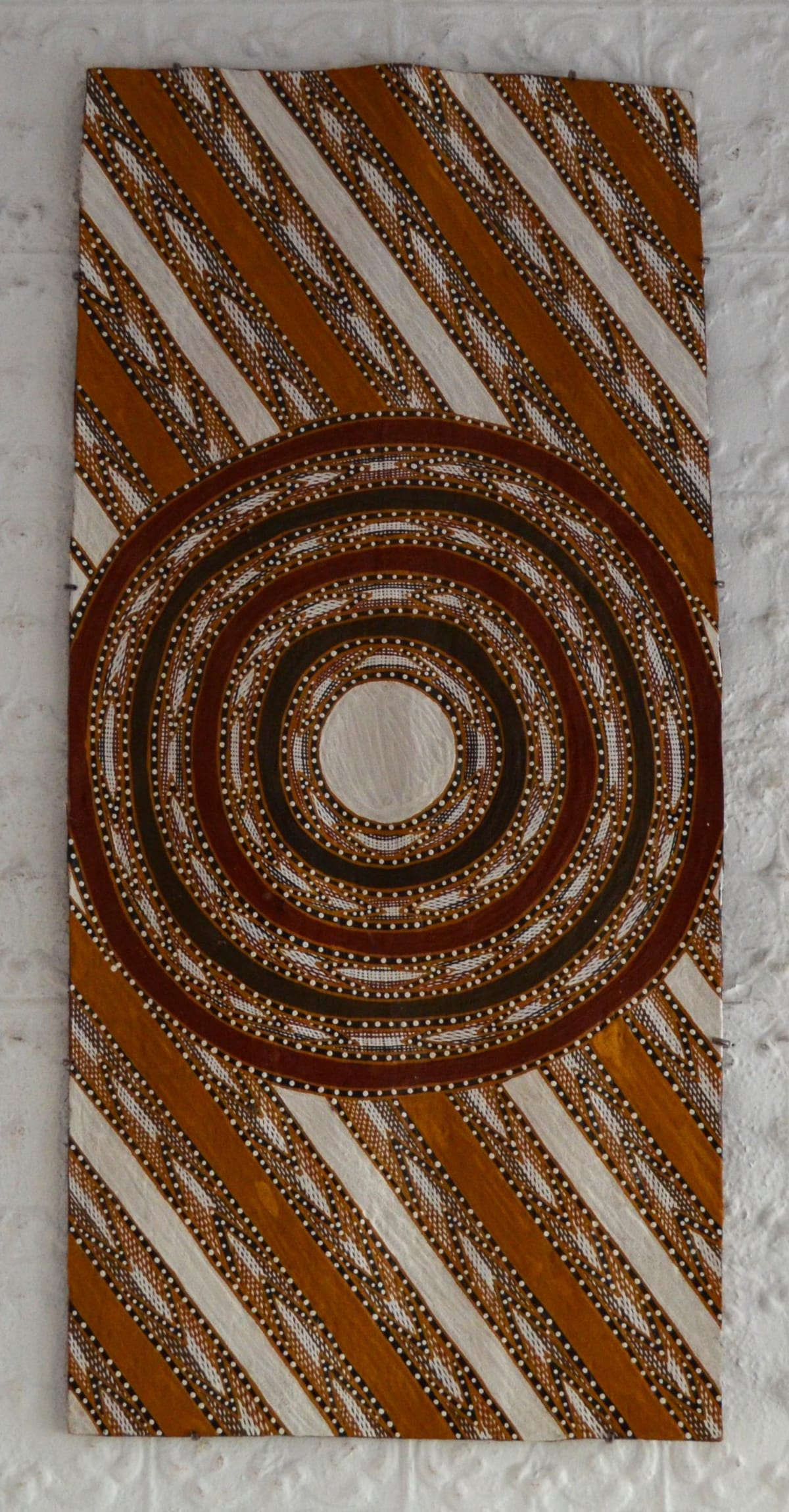 Ralwurrandji Wanambi Bamurrungu incised bark with sand and earth pigments 110 x 52 cm