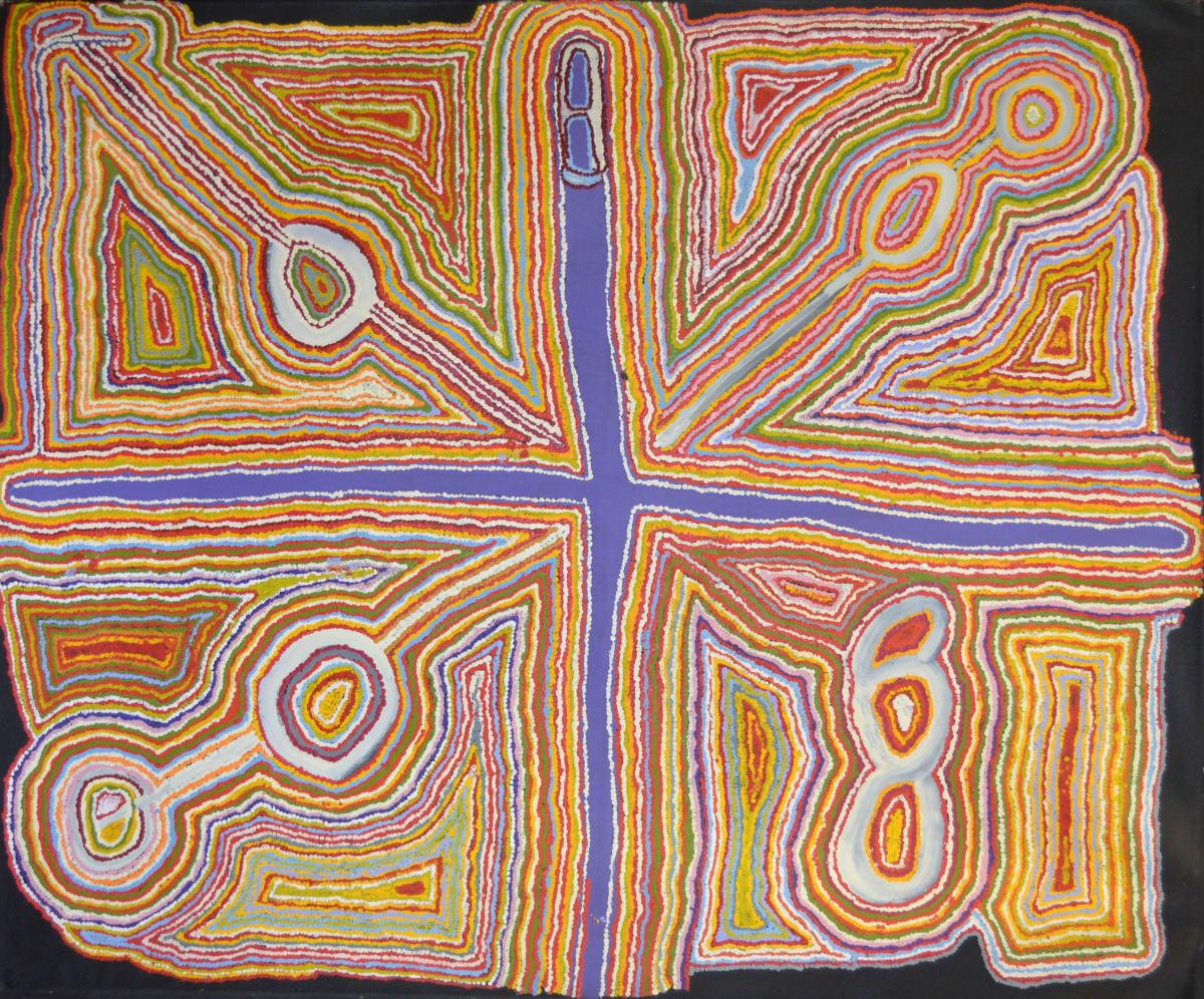 Jimmy Donegan Wati Kutjara Wanampi acrylic on linen 183 x 153 cm