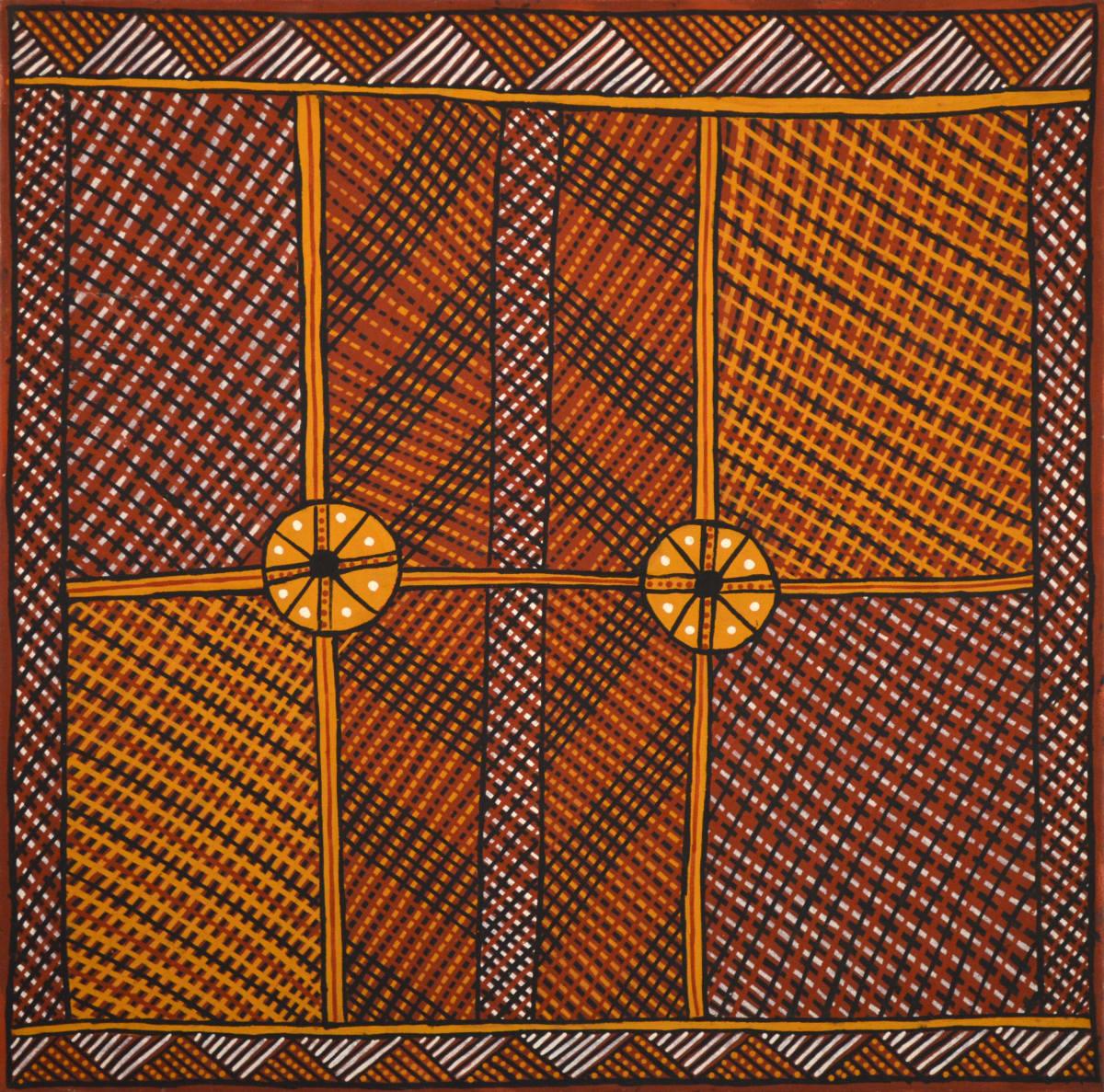 Raymond Bush Jilamara ochre on canvas 90 x 90 cm