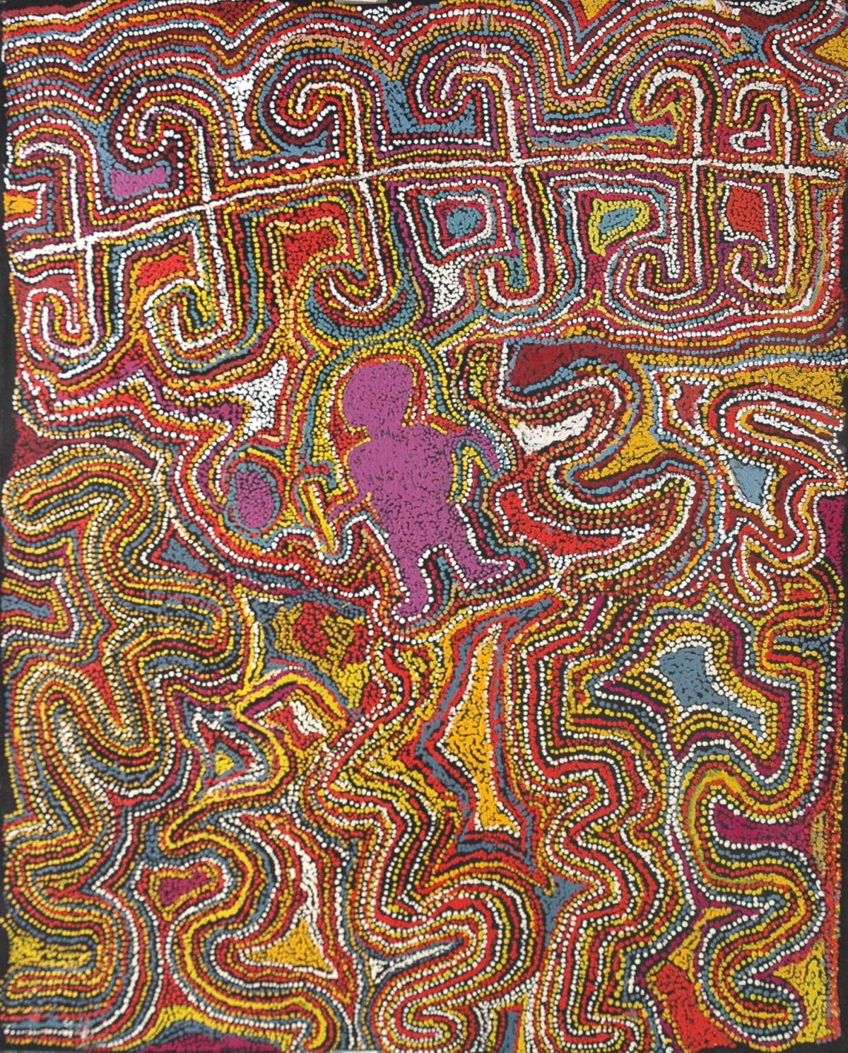 Kathleen Tjapalyi Minyma mamu acrylic on canvas 121 x 152 cm