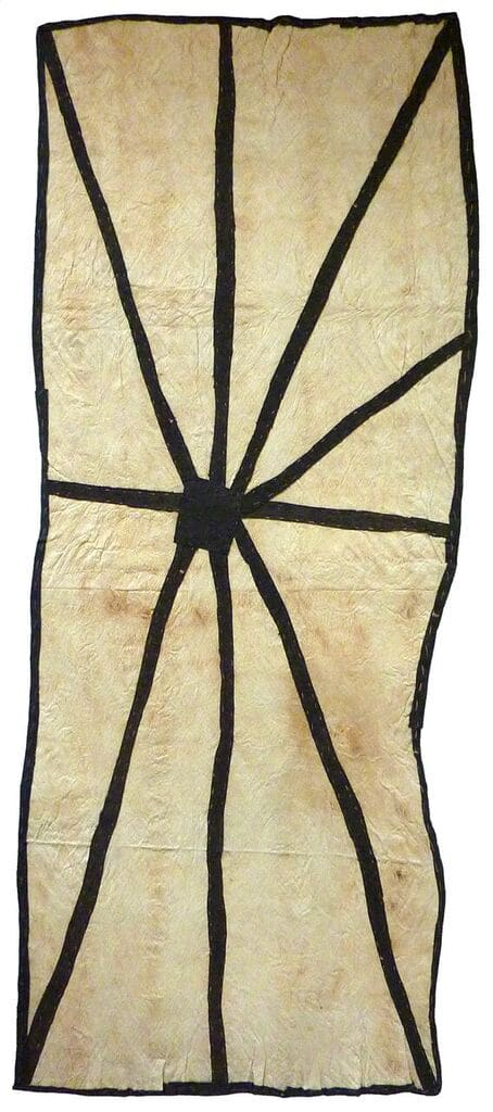 Brenda Kesi (Arire) Wo'ohohe natural pigments on nioge (barkcloth) 135 x 53 cm