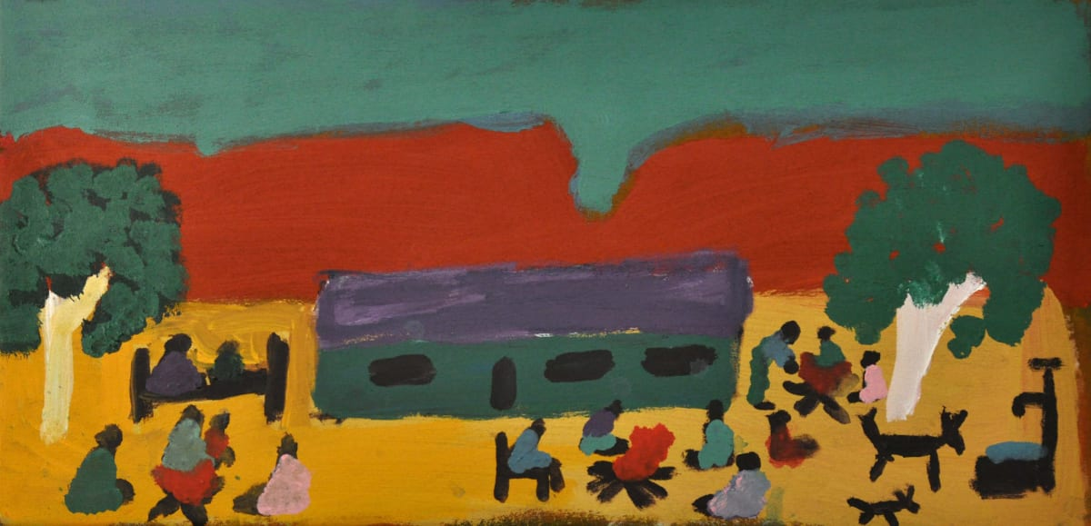 Sally M Mulda Little Sisters Camp Life - Inarlenge acrylic on canvas 30 x 60 cm
