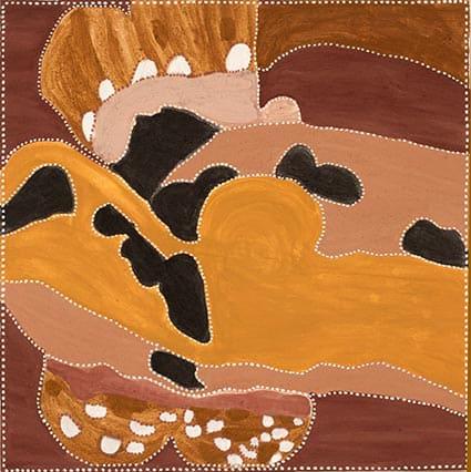 Kathy Ramsay Dick's Yard natural ochres on canvas 80 x 80 cm