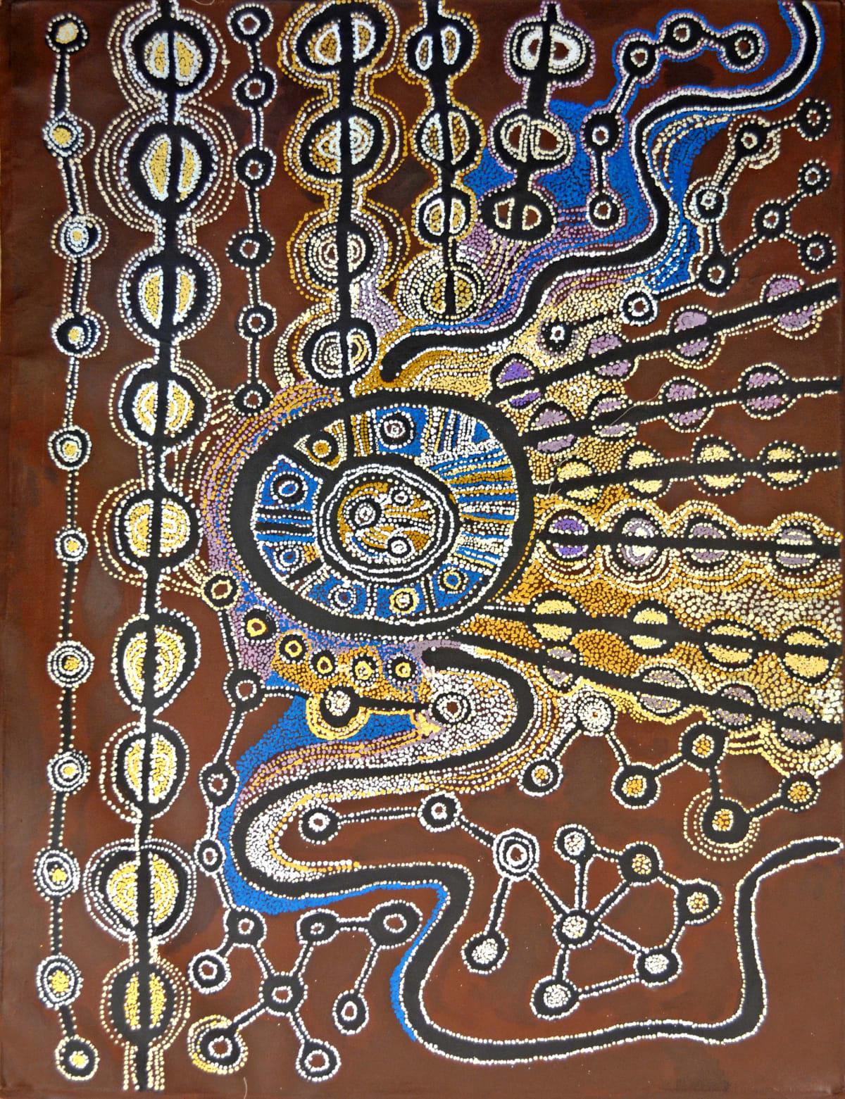 Witjiti George Malara: Wanampi Tjukurpa acrylic on linen 200 x 153 cm