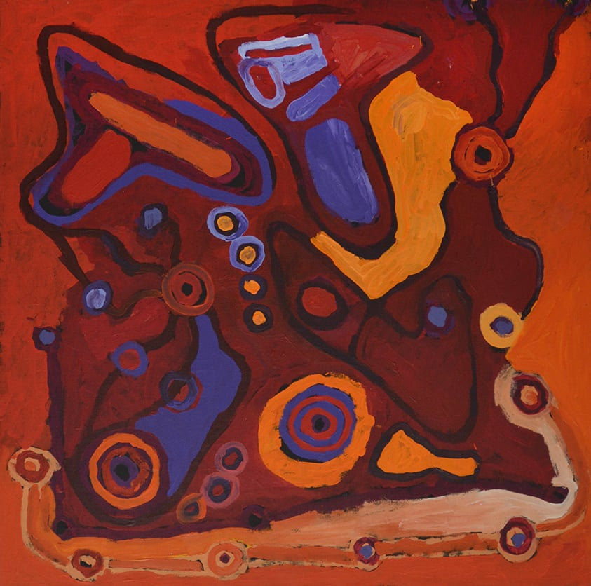 Helen Curtis Cave Hill acrylic on linen 100 x 100 cm