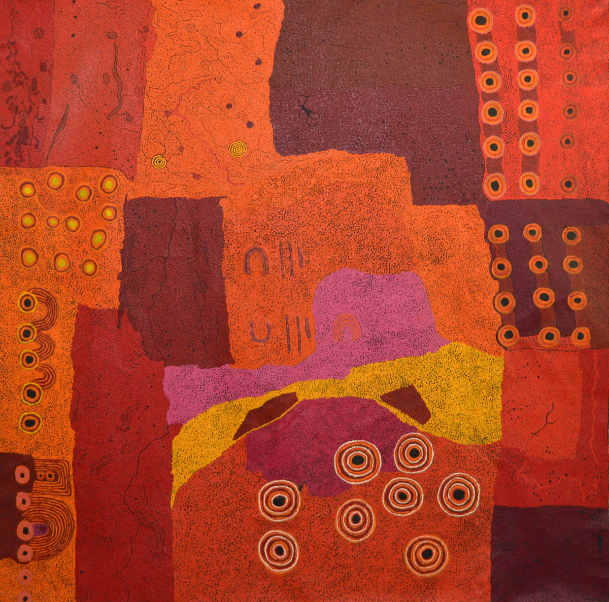 Keith Stevens and Ginger Wikilyiri Piltati/ Ilpin/ Wati Ngantaka 2014 acrylic on linen 200 x 200 cm