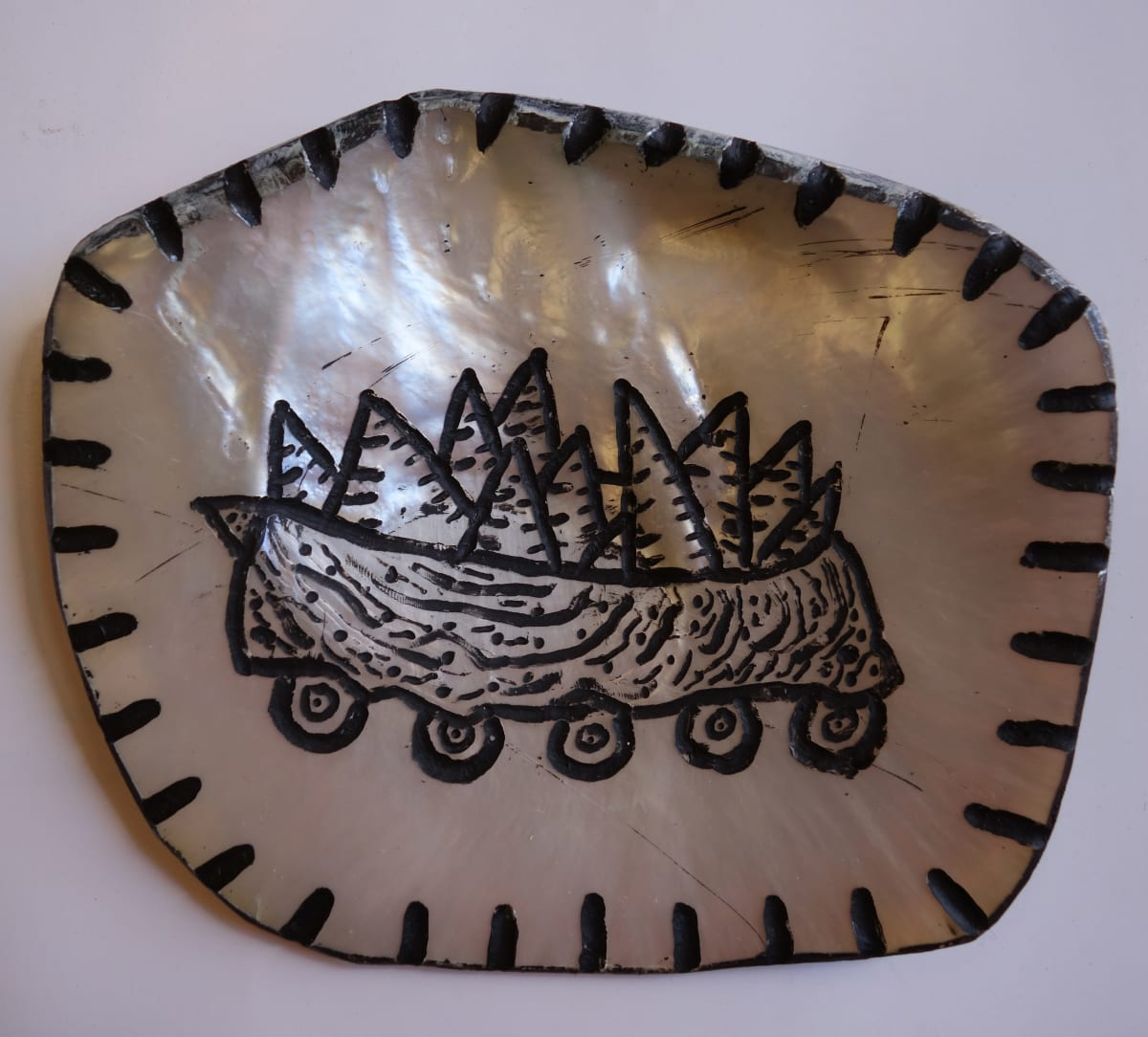 Stephen Eastaugh Shells Pearl shell and acrylic 12 x 12 cm