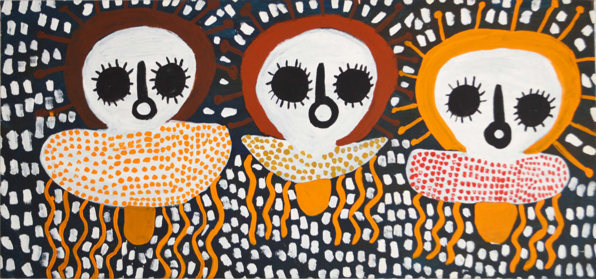 Mabel King Three Tribes acrylic on canvas 68 x 147 cm