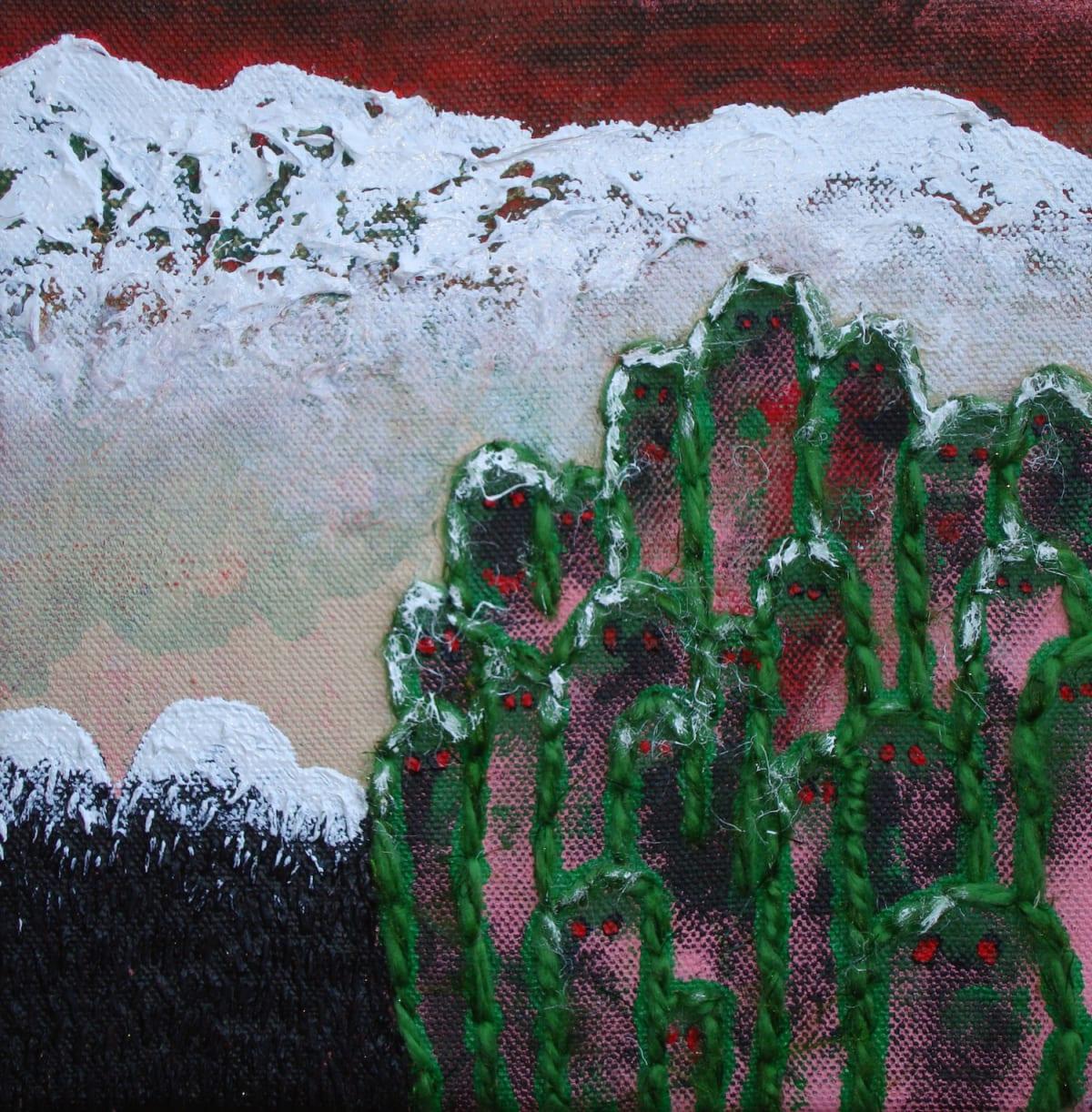 Stephen Eastaugh Ah Boon Haw / Tiger Balm Garden 2013 acrylic, thread, linen 20 x 20 cm