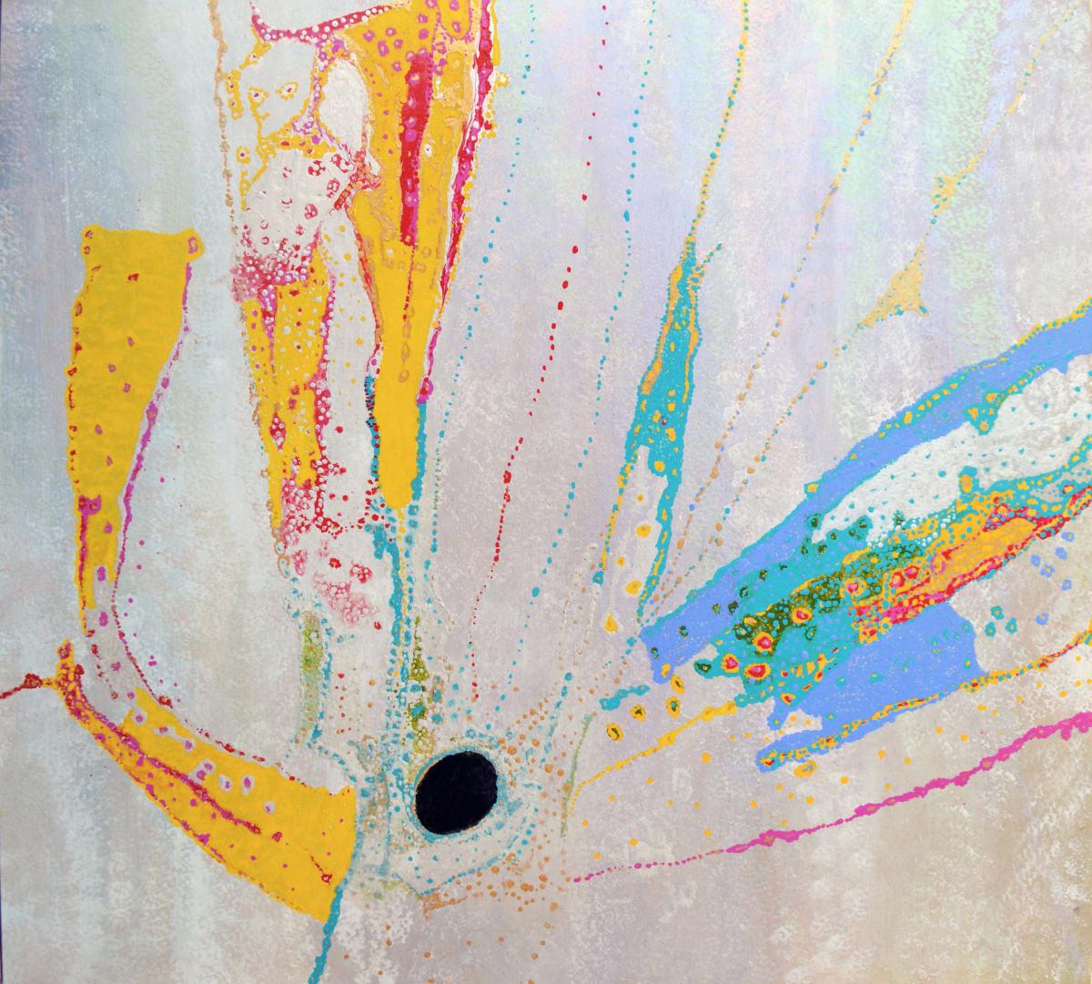 Daniel Walbidi + Matthew Johnson Wonga (Conversation) acrylic on plywood 90 x 100 cm