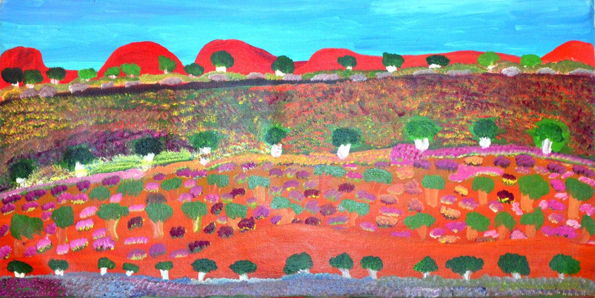 Daisy Andrews Lump Lumpu acrylic on canvas 60 x 120 cm