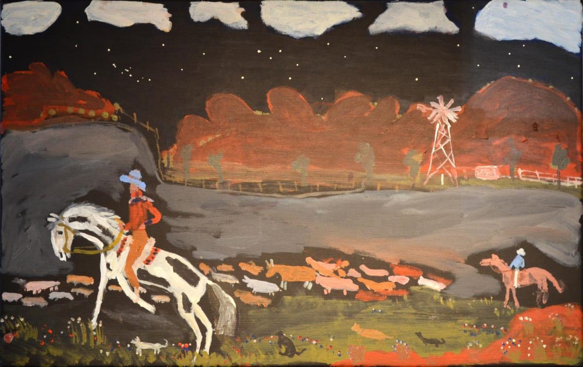 Jimmy Pompey Cowboy Story acrylic on canvas 46 x 71 cm