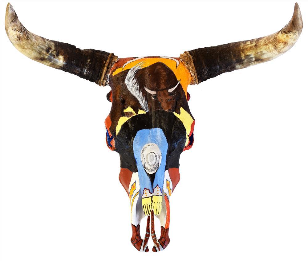 Mervyn Street Wild Scrub Bull Story, 2019 Wil bull skull & paint 43 x 71 x 55 cm