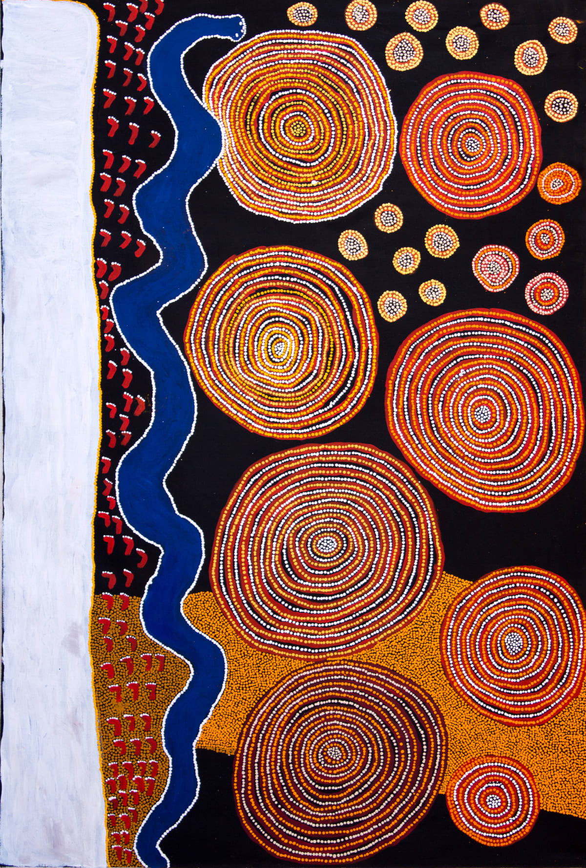 Lennard Walker Kulkapa Acrylic on linen 194 x 132 cm