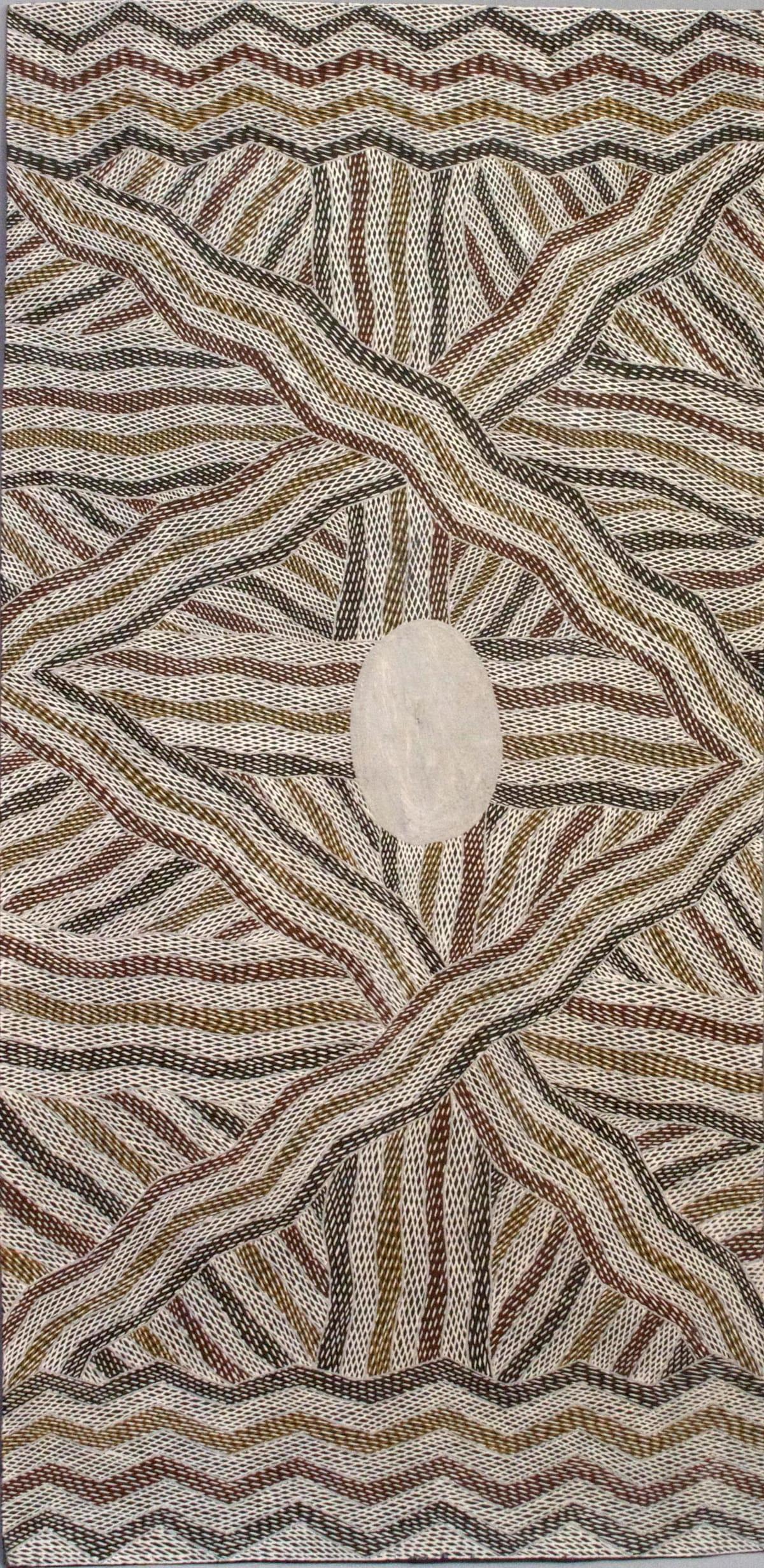 Manini Gumana Garraparra natural earth pigment on bark 116 x 53 cm