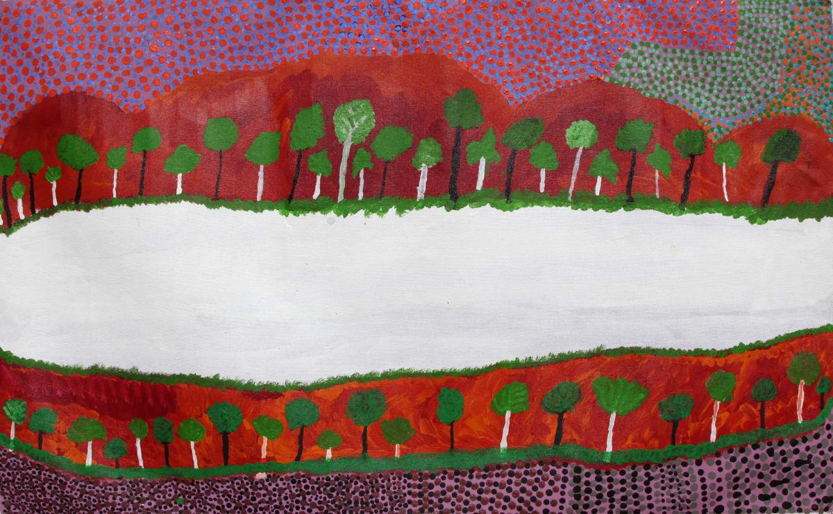 Billy Atkins (Yunkurra) Untitled acrylic on linen 76 x 122 cm