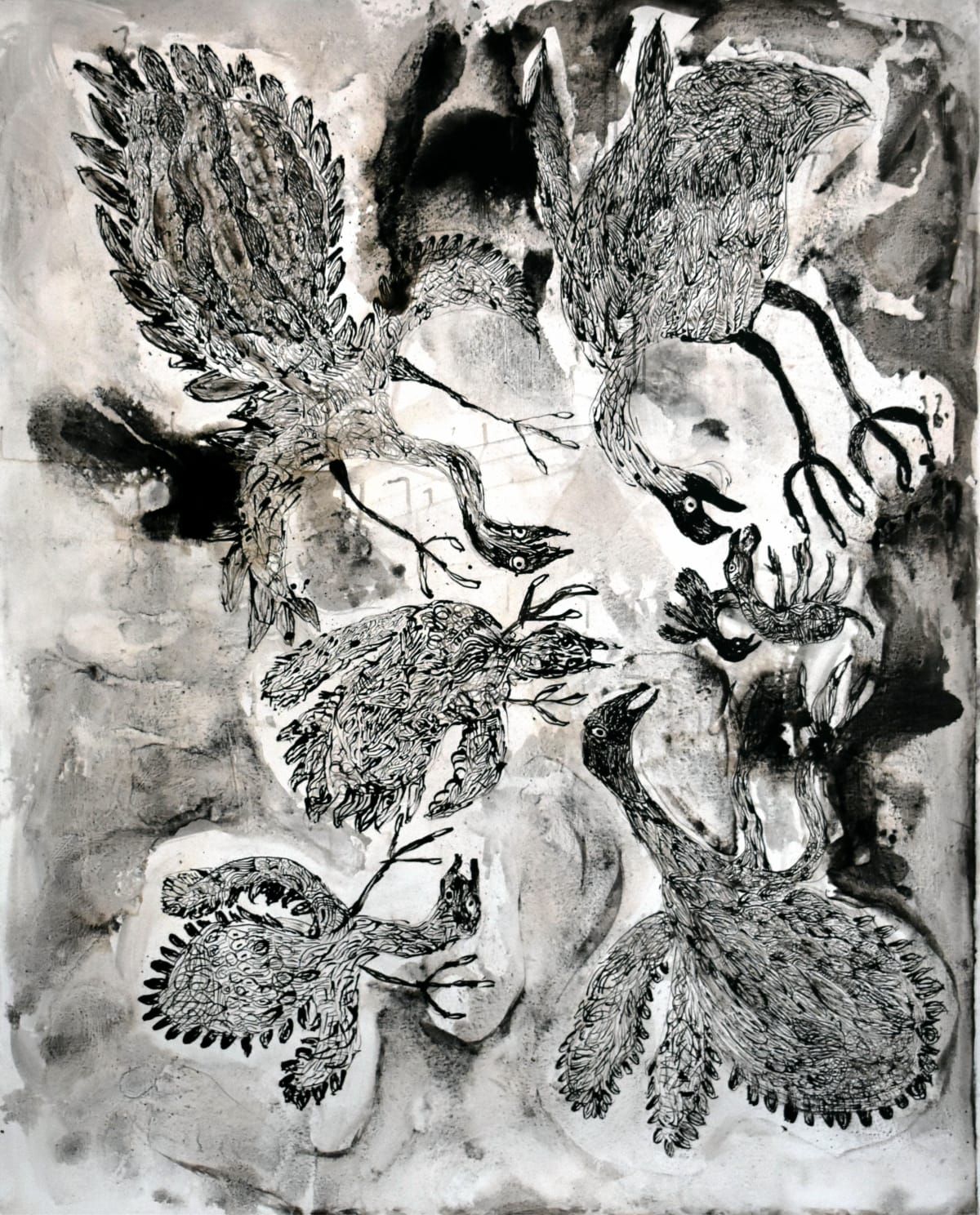 Iluwanti Ken Walawulu ngunytju kukaku ananyi (Mother Eagles going hunting) Acrylic on Linen 1525x1220mm