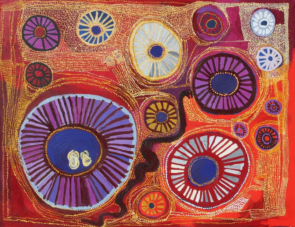 Mick Wikilyiri tjala tjukurpa - Honey ant story acrylic on linen 152 x 198 cm