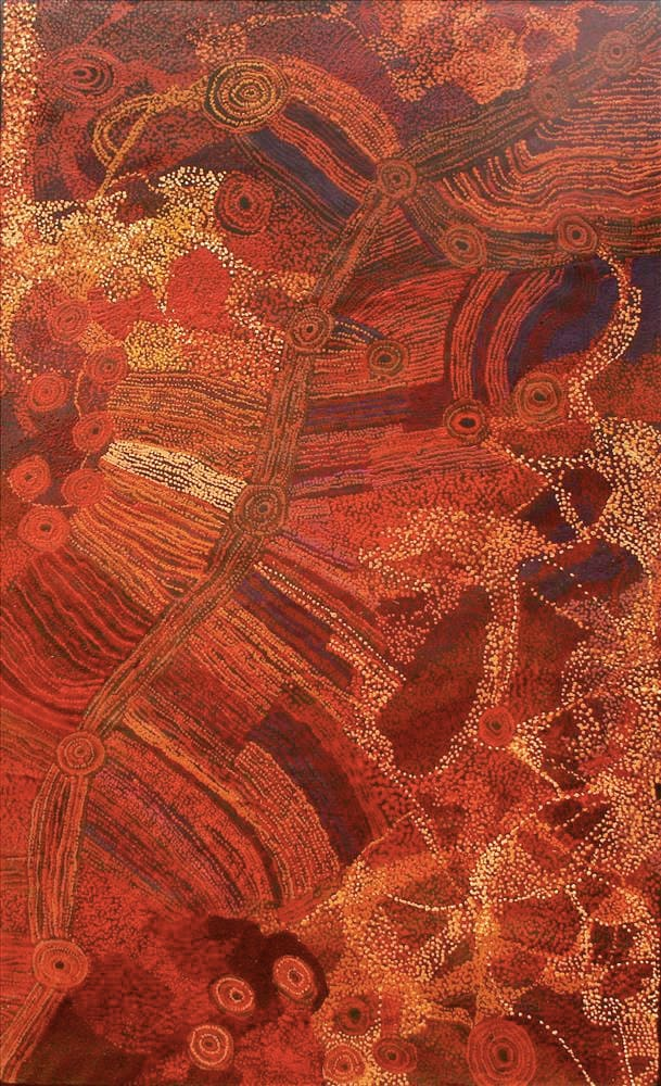 Sylvia Kanytjupai Ken Ngayuku ngura acrylic on linen 122 x 198 cm