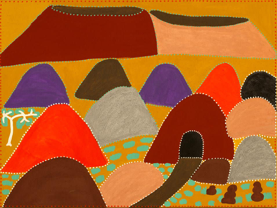 Evelyn Malgil Rose's Yard Natural ochre and acrylic on linen 120 x 90 cm