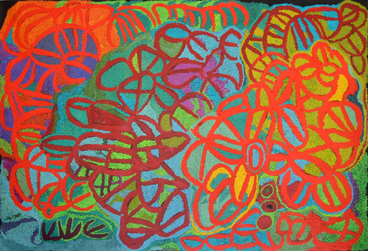 Angelina (Tjaruwa) Woods Kalaya acrylic on linen 200 x 137 cm