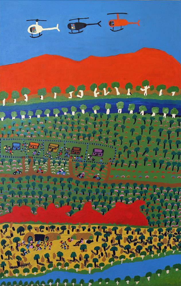 Grace Kemarre Robinya Station Days acrylic on linen 75 x 118.5 cm