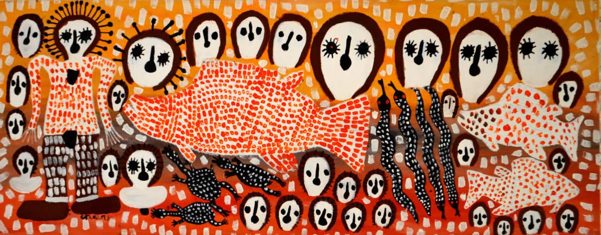 Mabel King Wandjina & Munja Fish acrylic on canvas 67 x 173 cm