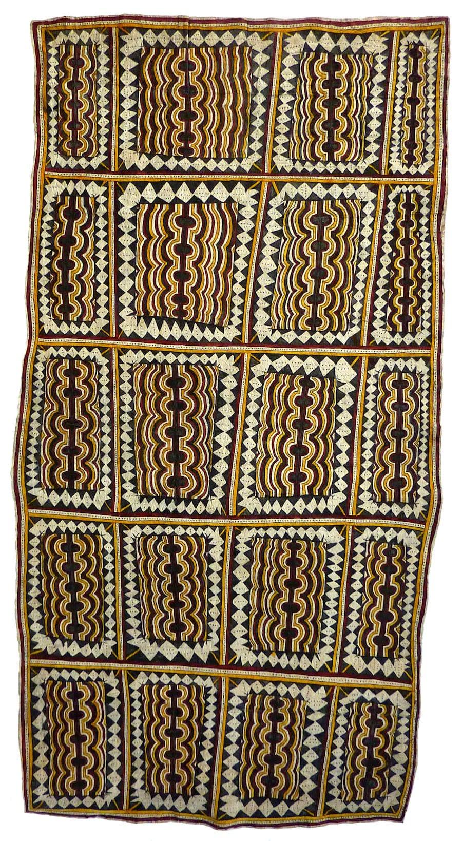 Lila Warrimou (Misaso) Hartu'e, mahuva'oje'o sabu deje natural pigments on nioge (barkcloth) 155 x 80 cm