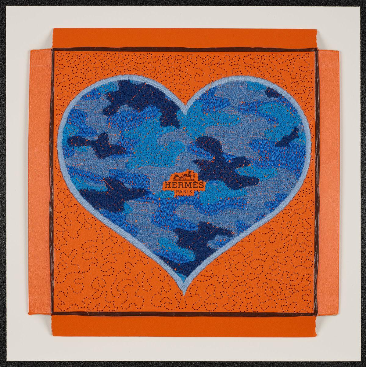 Stephen Wilson, Hermes Camo Heart (Flat Blue), 2020