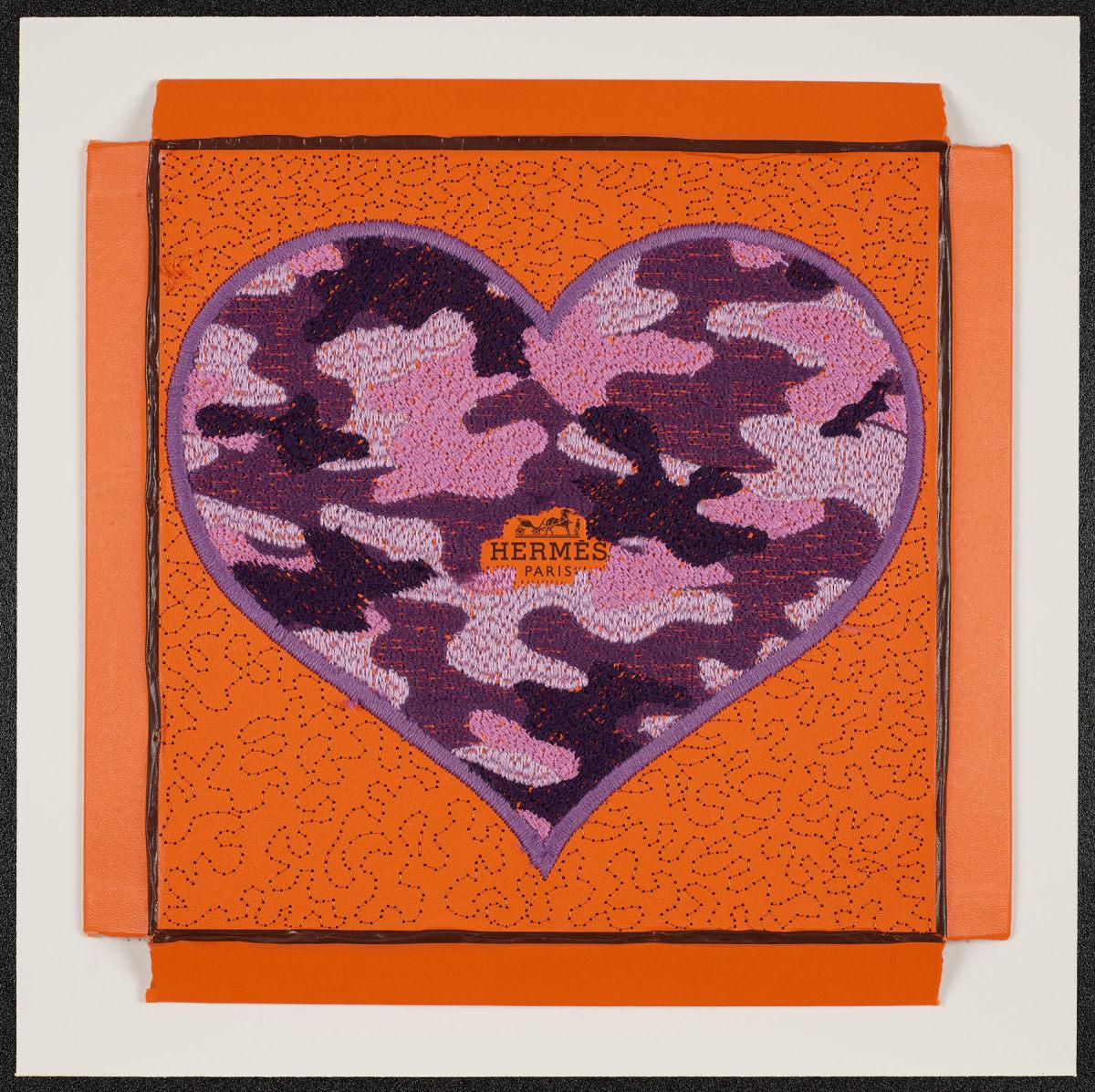 Stephen Wilson, Hermes Camo Heart (Flat Purple), 2020