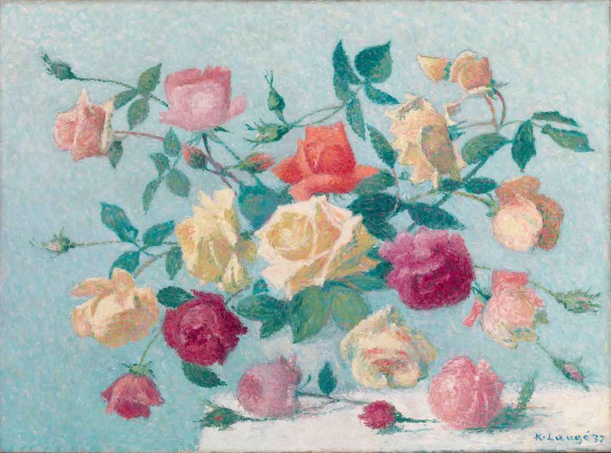 Achille Lauge, Bouquet de roses, 1937