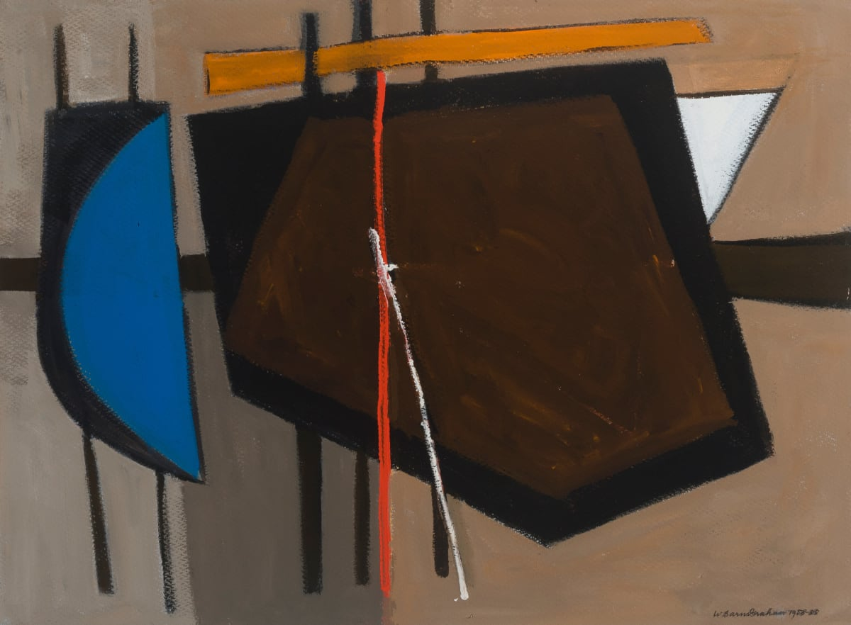 Wilhelmina Barns-Graham, Brown with Blue (Geoff and Scruffy Series), 1988