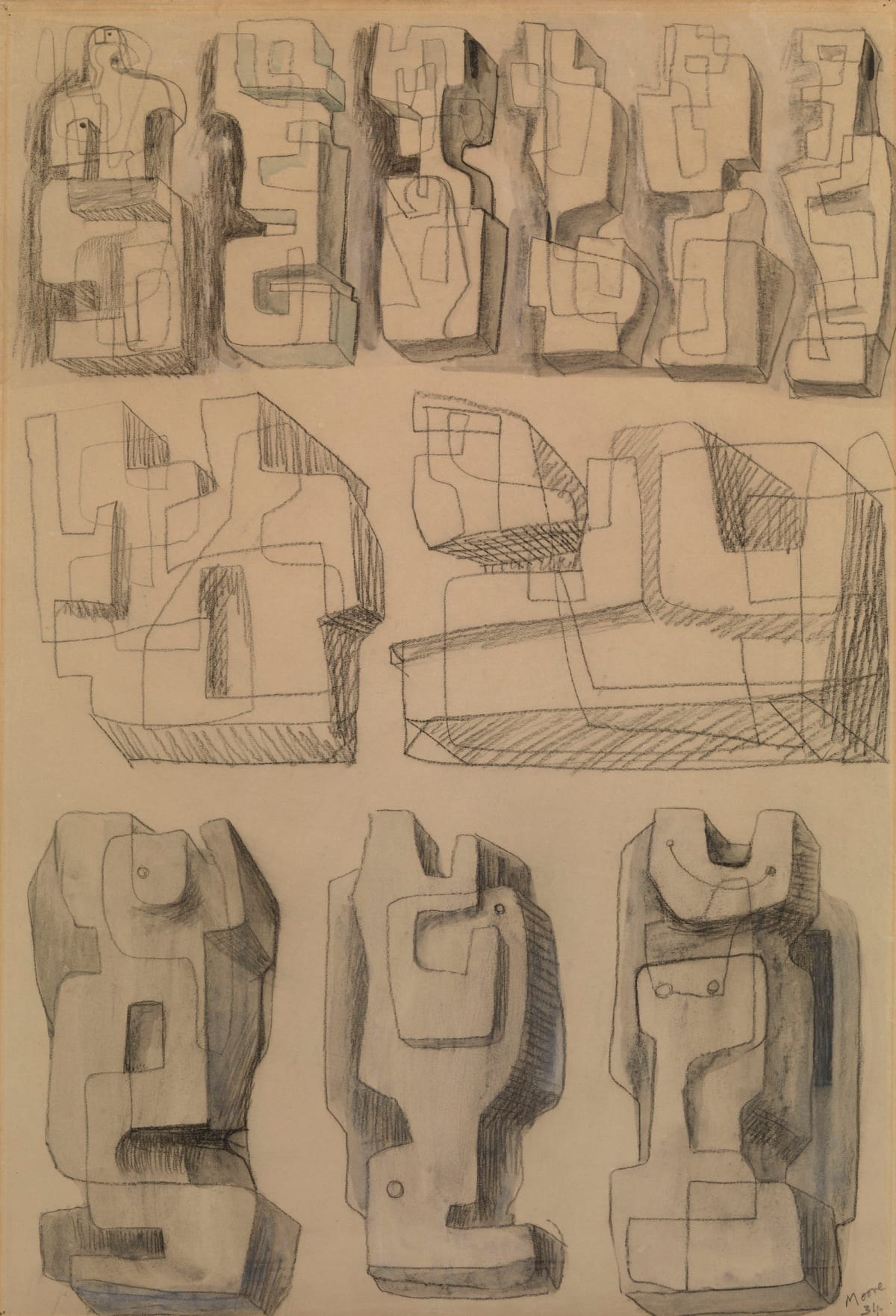 Henry Moore, Square Forms - Eleven studies for sculptures, 1936