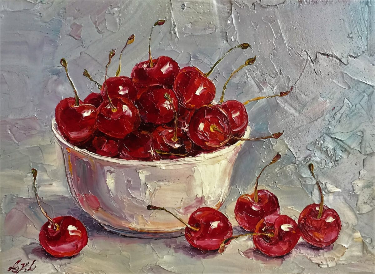Lana Okiro, Cherries in Porcelain Bowl