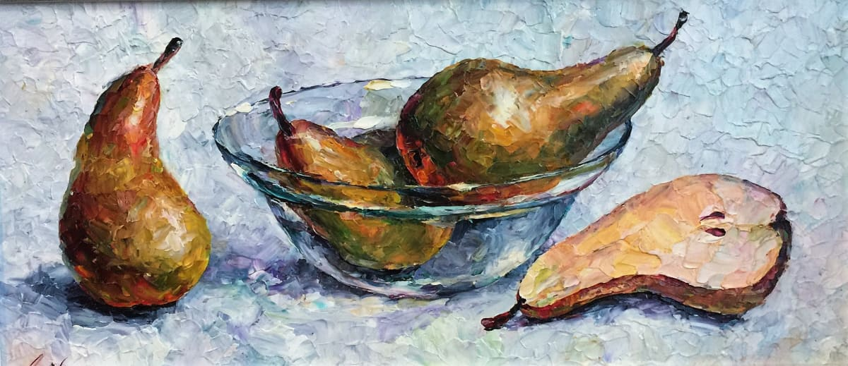 Lana Okiro, Still Life with Pears and Glass Bowl