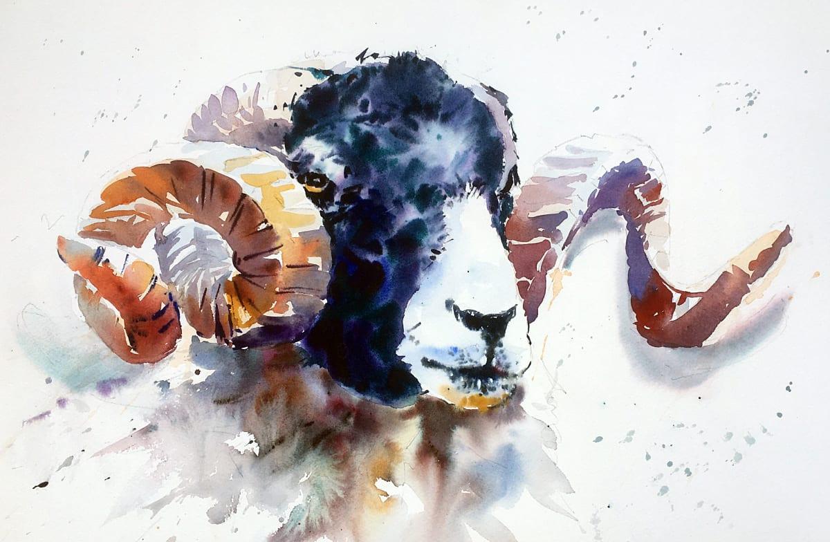 Jake Winkle REGAL RAM Watercolour 18 x 13 in. 45.72 x 33.02 cm