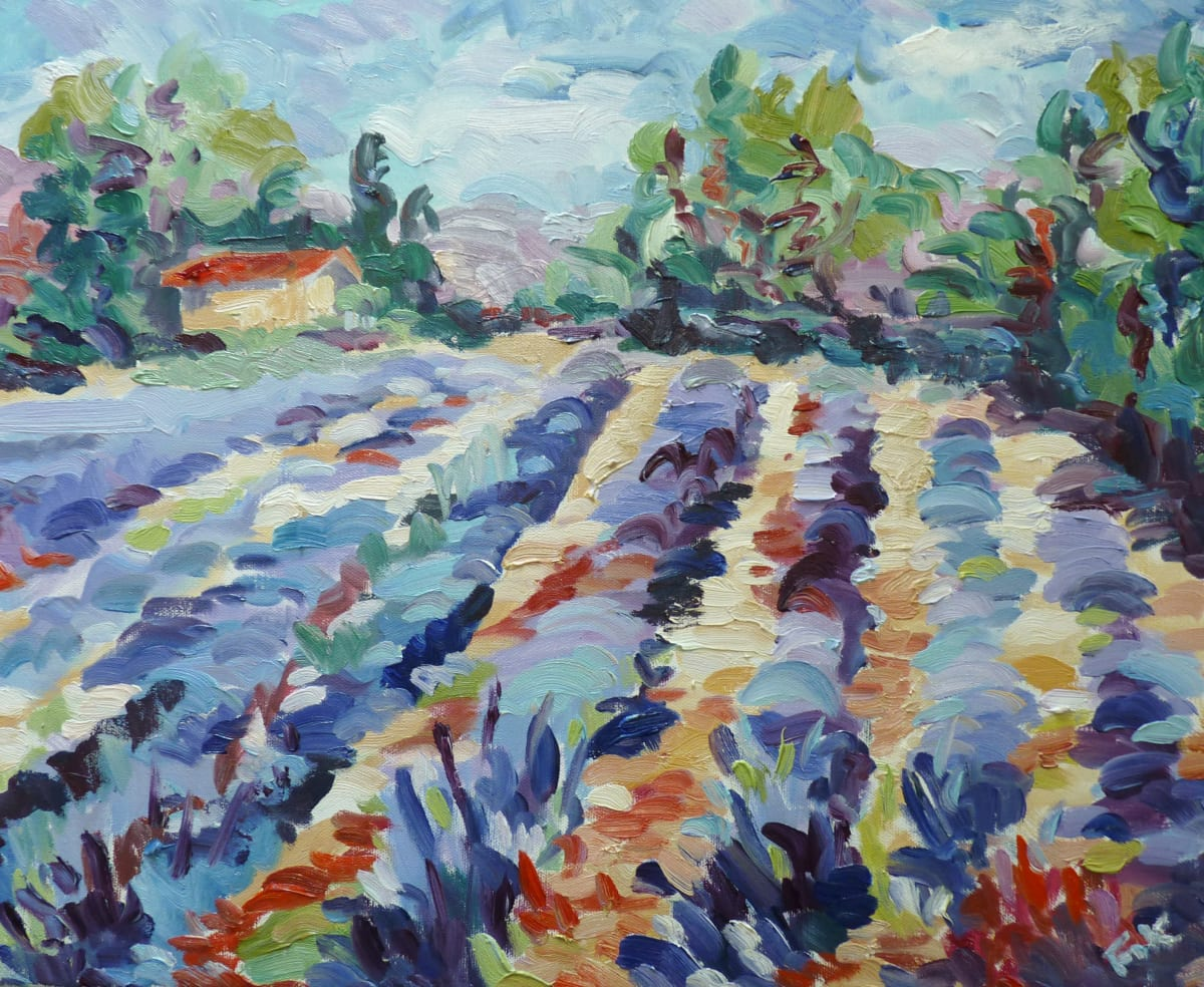 Fi Katzler LAVENDER NEAR BONNIEUX Oil on canvas 18 x 22 in. 45.72 x 55.88 cm
