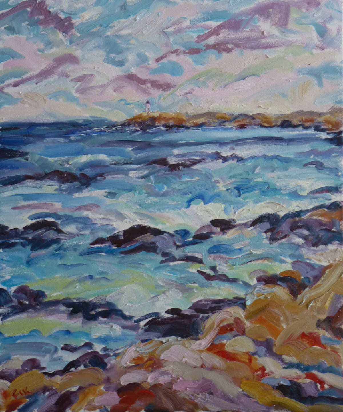 Fi Katzler WINDY DAY AT COTE BLEUE Oil on canvas 22 x 18 in. 55.88 x 45.72 cm