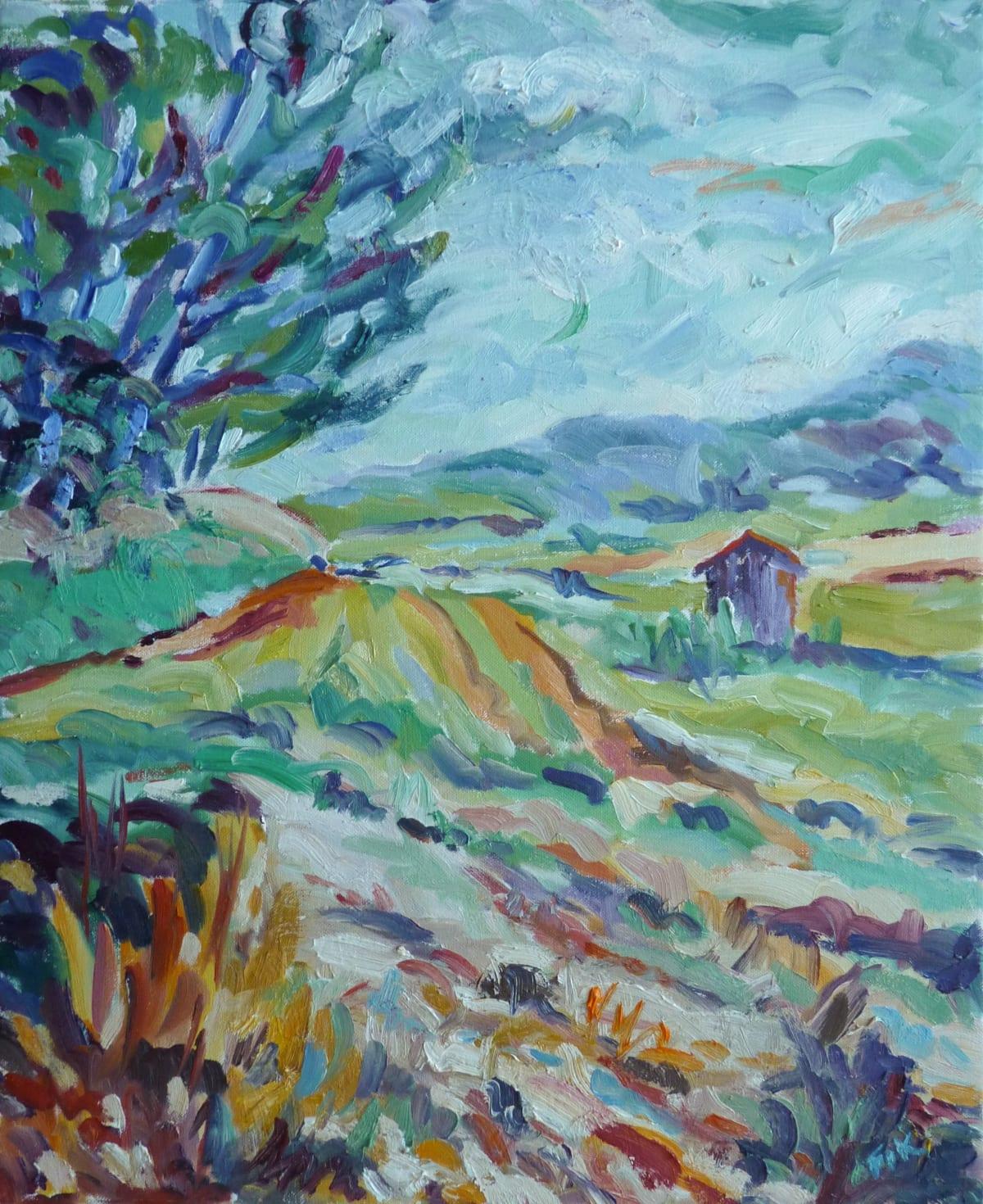Fi Katzler MELON FIELDS AND CABANON Oil on canvas board 24 x 20 in. 60.96 x 50.8 cm