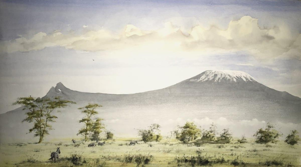 Jeremy Hammick ZEBRA KILIMANJARO Watercolour 17 x 30 in. 43.18 x 76.2 cm